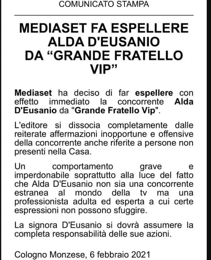 """Alda d'Eusanio espulsa con effetto immediato dal GF VIP 5 dopo il caso """"Pausini"""""""