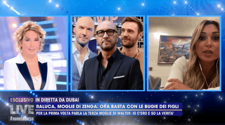 """Raluca a Live difende Walter Zenga da Andrea: """"Ti fa comodo fare il figlio triste"""""""