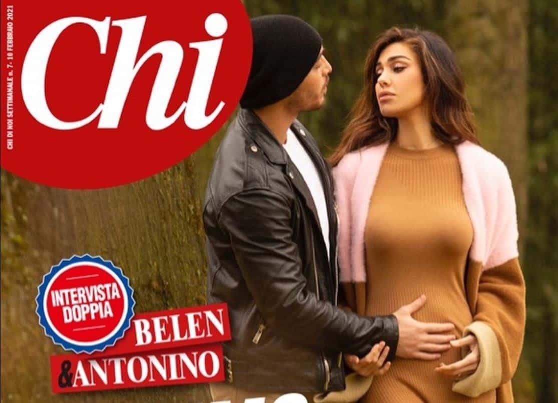 Belen Rodriguez incinta mostra il pancino sulla cover di Chi: una favola d'amore
