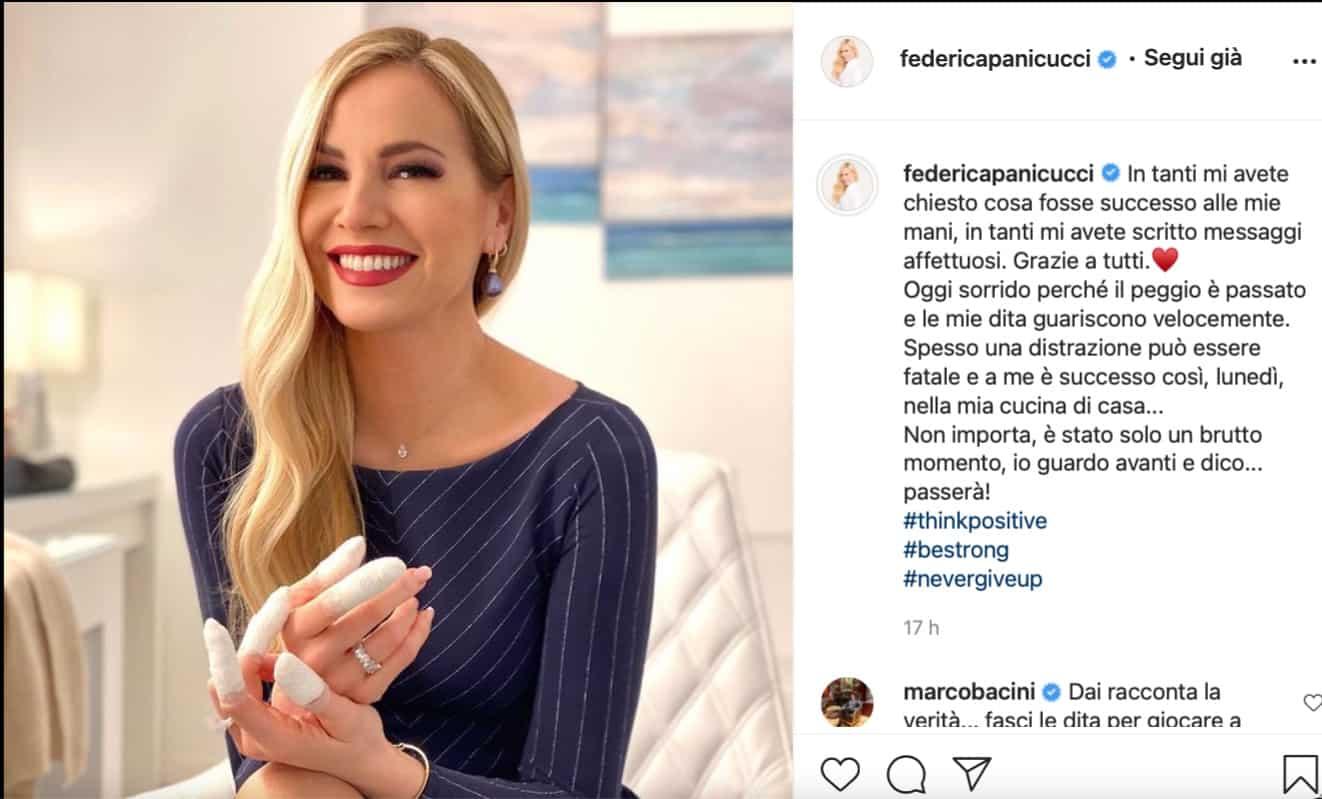 """Federica Panicucci dopo l'incidente: """"Spesso una distrazione può essere fatale"""" (Foto)"""