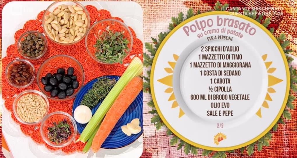 Polpo brasato con scarola e patate al limone, la ricetta di Mattia e Mauro Improta