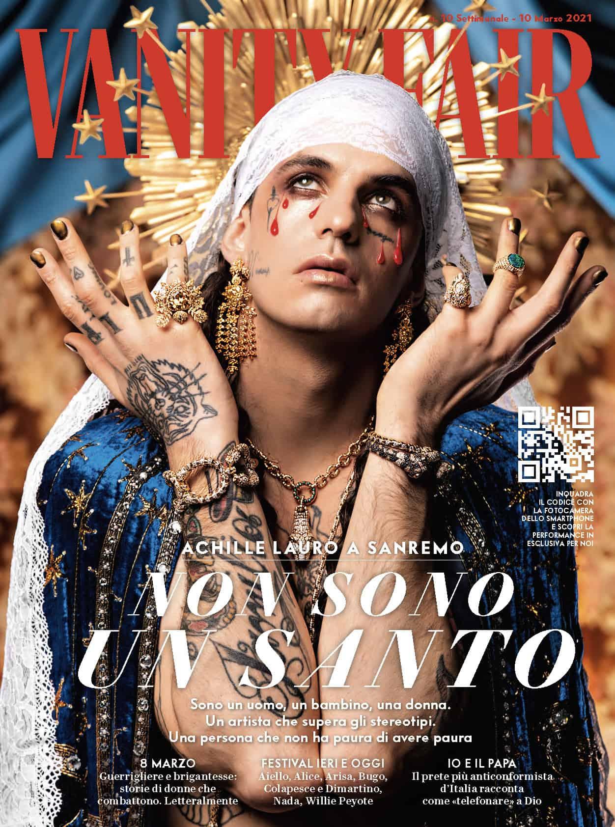 """Achille Lauro sulla cover di Vanity Fair come un'icona religiosa: """"Scelgo la donna estremo simbolo di libertà"""""""
