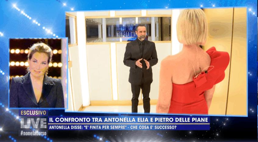 Antonella Elia e Pietro si incontrano in ascensore: tutto finto, sono arrivati a Milano insieme