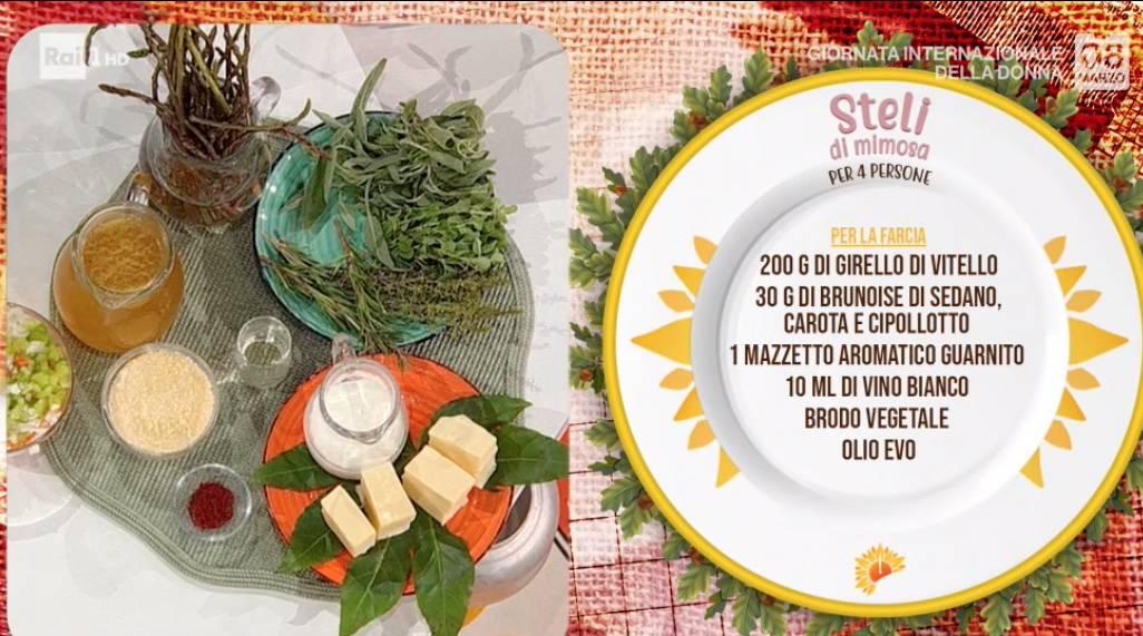 Steli di mimosa, la ricetta di Antonella Ricci