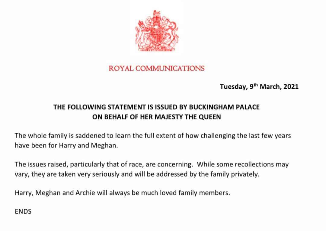 La famiglia Reale risponde a Harry e Meghan con un comunicato ufficiale