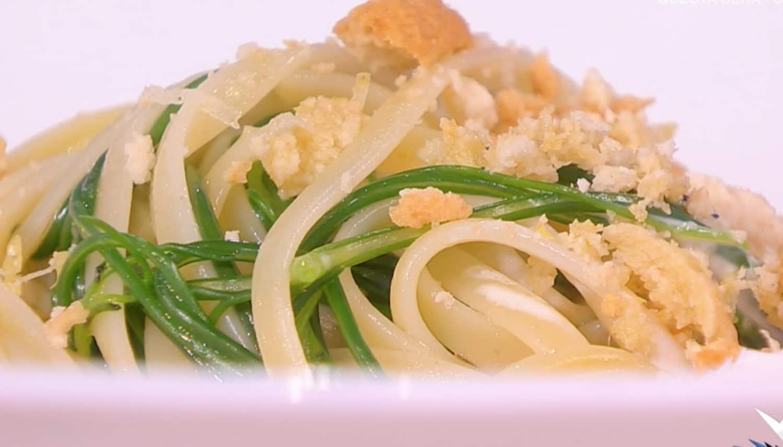 Linguine aglio, olio e agretti di Matteo Torretta