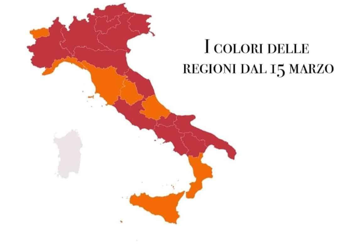 Da lunedì 15 marzo 2021 10 regioni in zona rossa insieme a Trento: la situazione