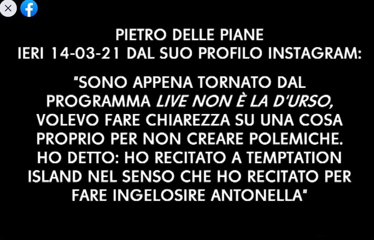 Pietro delle Piane smascherato da fuori onda di Temptation Island: tra bugie e recitazione