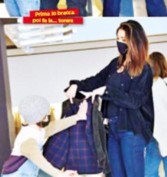 Shopping di famiglia per  Belen con Santiago che cerca le attenzioni di Antonino (Foto)