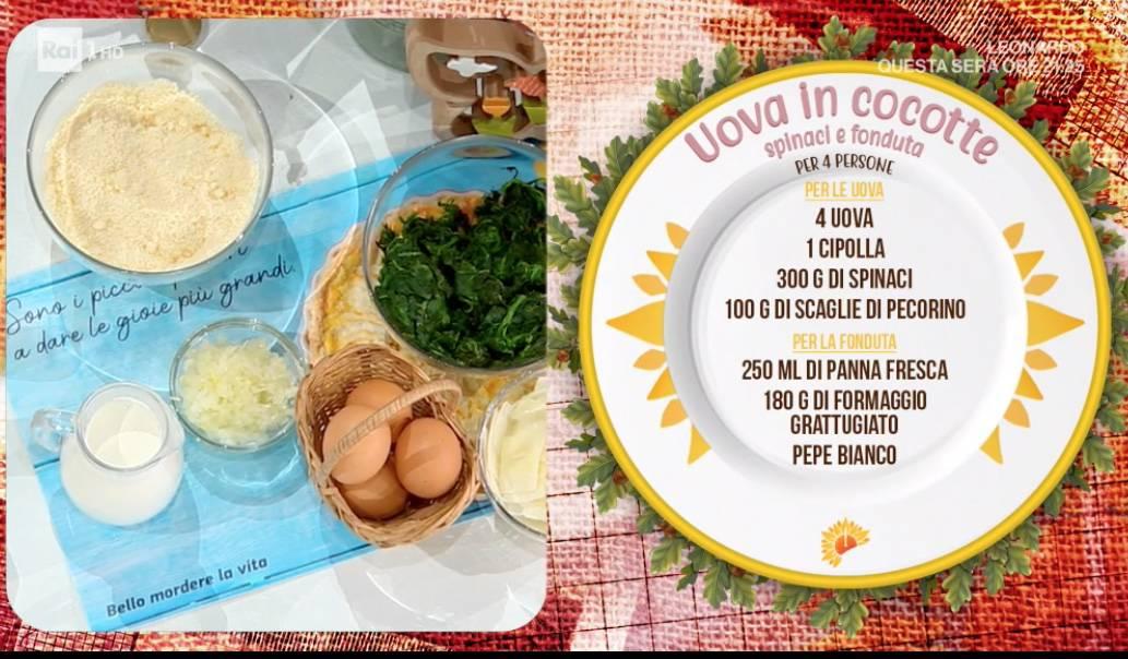 Uova in cocotte spinaci, fonduta e crackers è la ricetta di Zia Cri