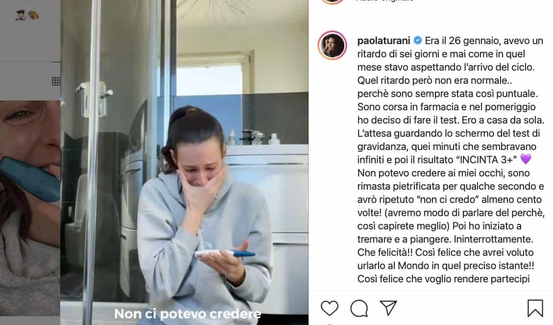 Paola Turani lacrime e gioia mentre scopre di essere incinta: il video