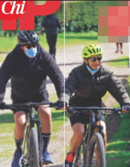 Lilly Gruber si allena in mountain bike con il marito (Foto)