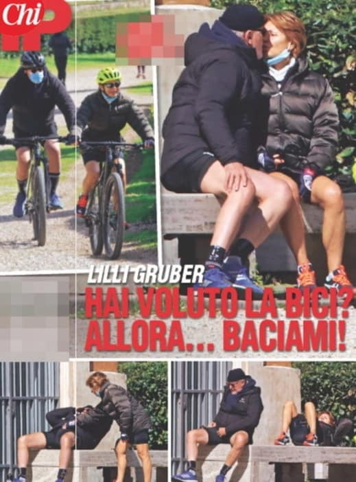 Lilly Gruber si allena in mountain bike con il marito (Foto)