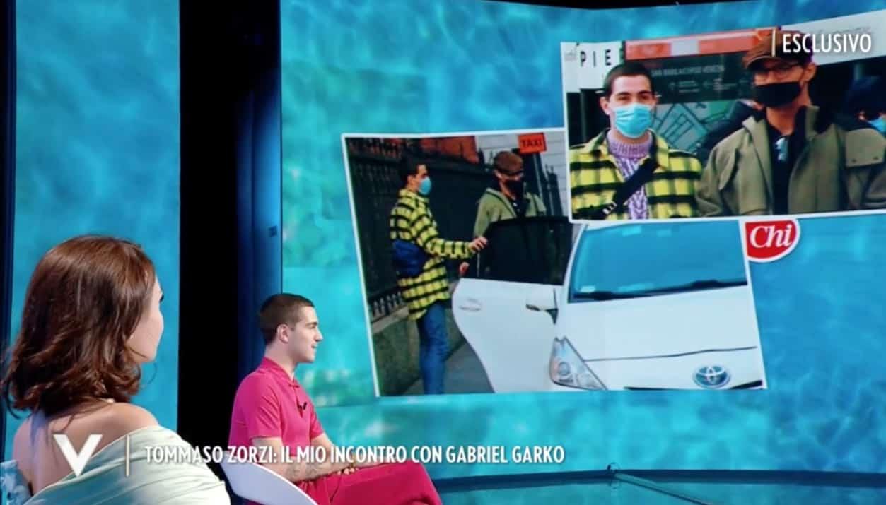 Tommaso Zorzi a Verissimo commenta le foto con Gabriel Garko