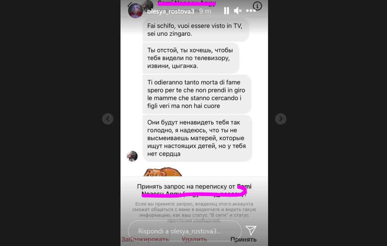 Olesya Rostova travolta da minacce e insulti sui social: pubblica tutti i messaggi