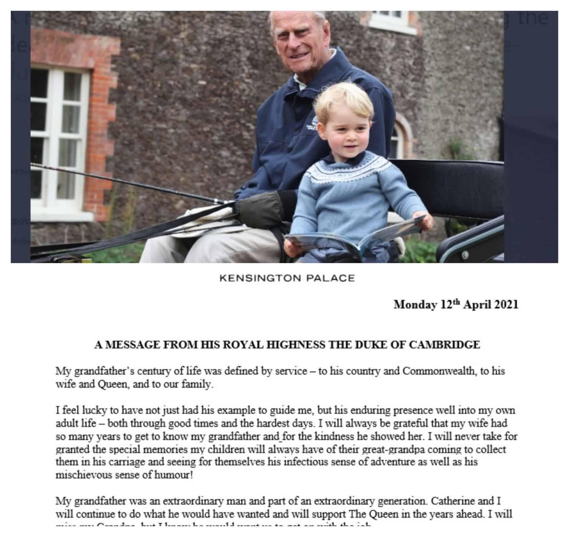 """William ricorda nonno Filippo con una dolce foto: """"Era un uomo straordinario"""""""