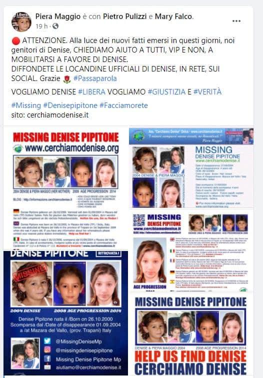 I genitori di Denise Pipitone invitano tutti a condividere le locandine ufficiali dai social