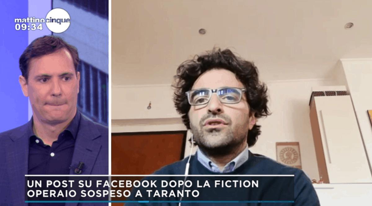 Mattino 5, il racconto dell'operaio di Taranto sospeso per un post sulla fiction con Sabrina Ferilli