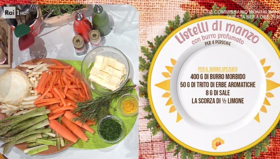 Listelli di manzo con burro profumato, la ricetta di Barbara De Nigris