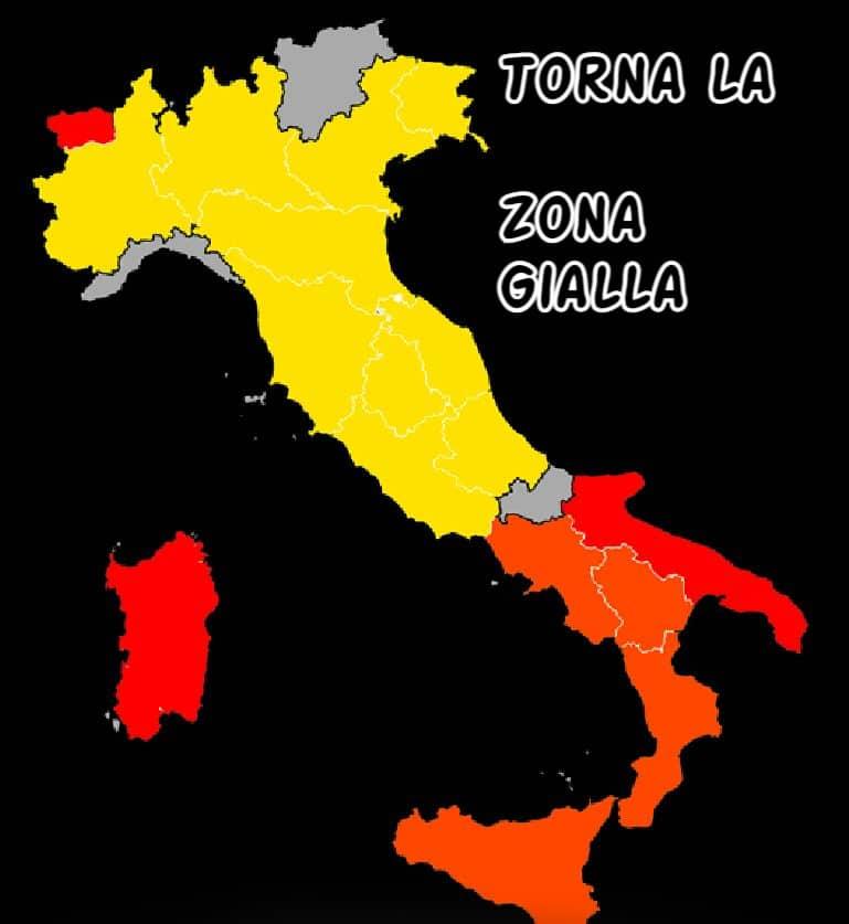 Oggi i nuovi colori delle regioni: 11 regioni sperano nella zona gialla