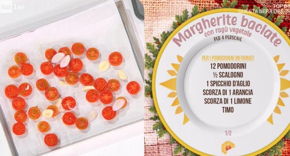 Margherite baciate con ragù vegetale, ricetta di Fabio Potenzano