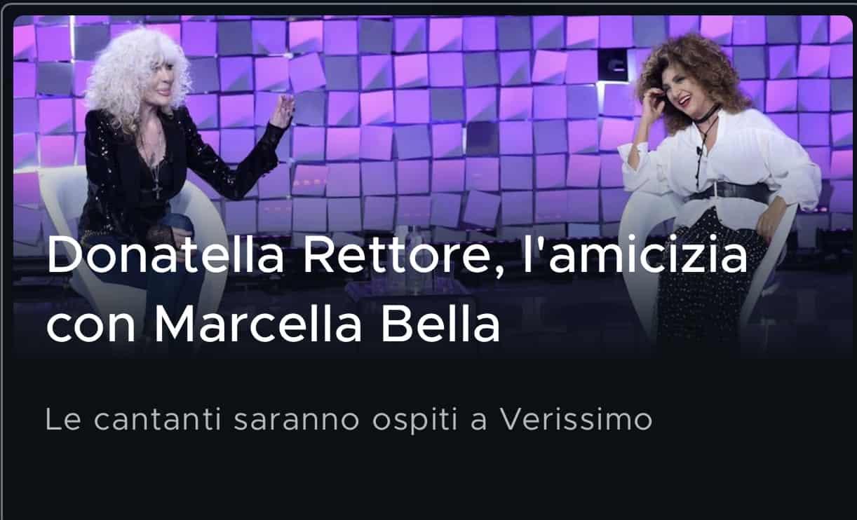 Donatella Rettore adottata dalla famiglia di Marcella Bella, a Verissimo la nuova amicizia