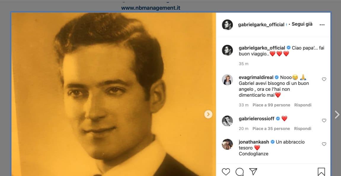 """E' morto il padre di Gabriel Garko: """"Ciao papà fai buon viaggio"""""""