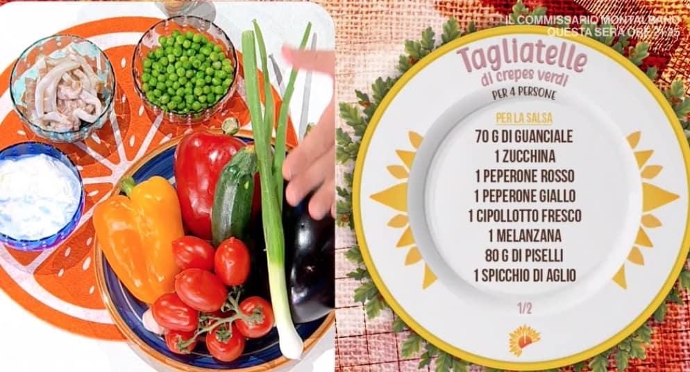Tagliatelle di crepes verdi con sugo dell'orto, ricetta Daniele Persegani