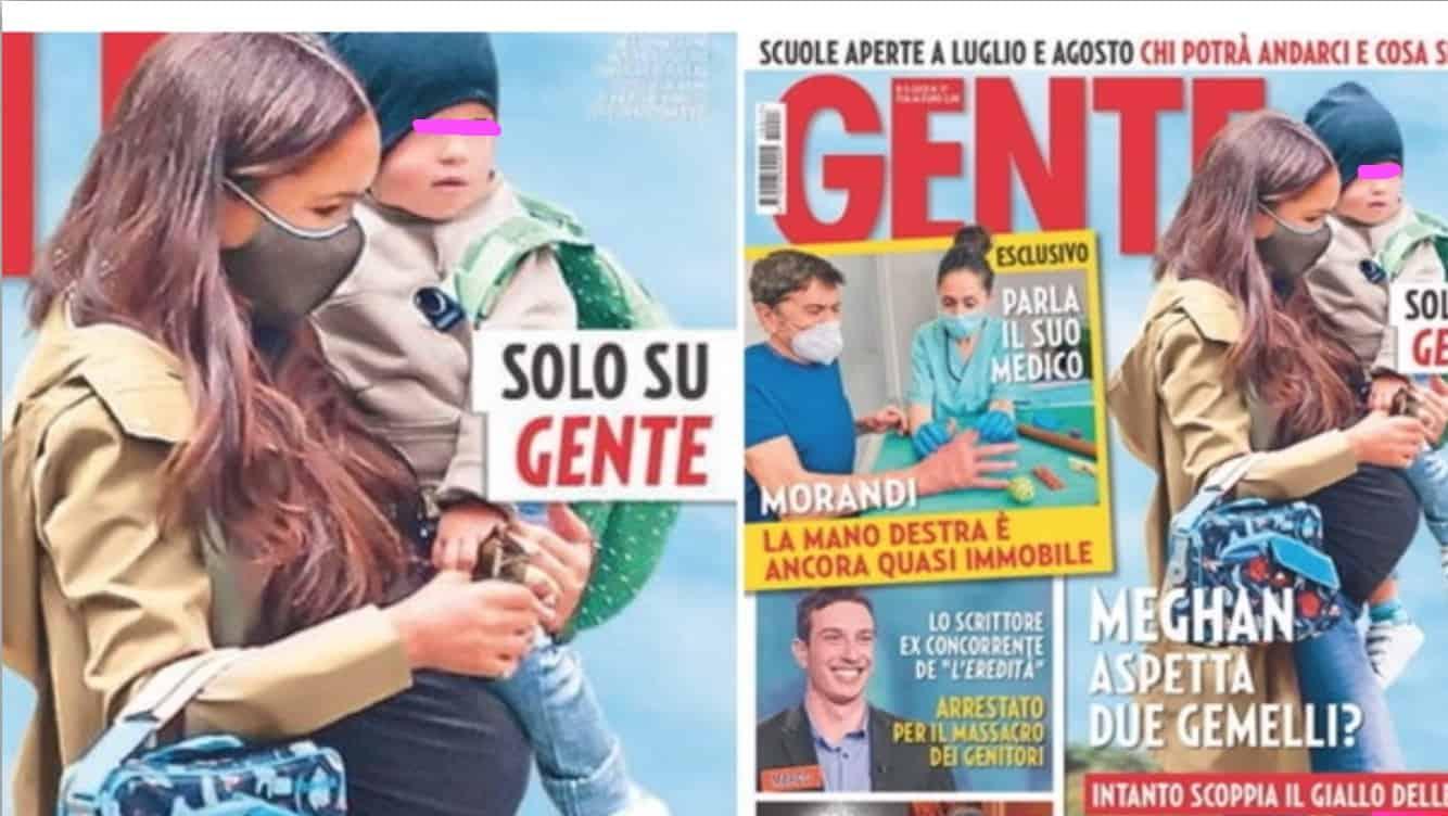 Meghan Markle in jeans col pancione e in braccio ha il piccolo Archie