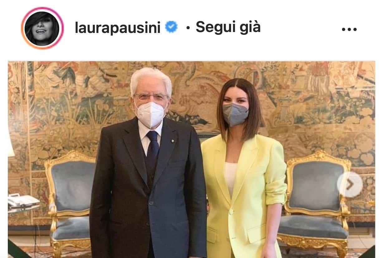 Laura Pausini ricevuta al Quirinale dopo la notte degli Oscar (Foto)