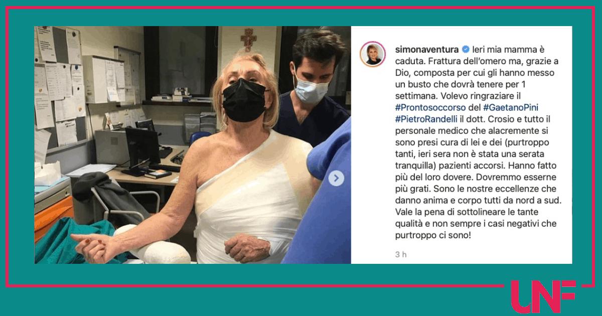 La mamma di Simona Ventura è caduta: frattura dell'omero e busto