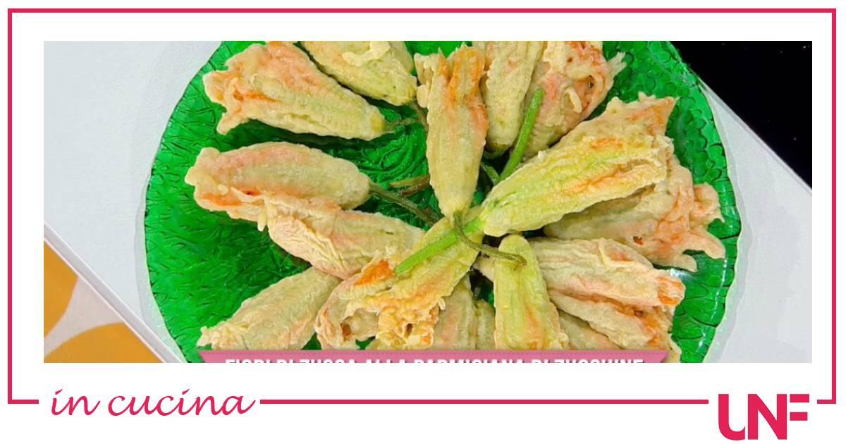 Fiori di zucca alla parmigiana di zucchine, la ricetta di Roberto Di Pinto