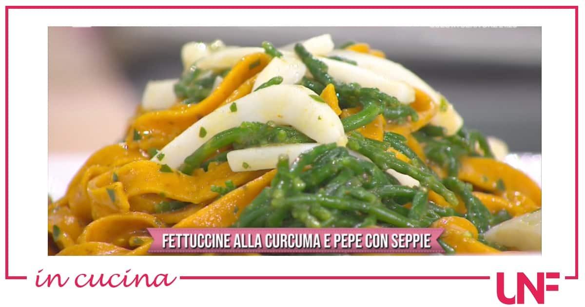 Fettuccine alla curcuma con seppie, ricetta Gian Piero Fava