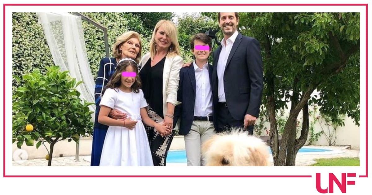 Monica Leofreddi festeggia Comunione e Cresima dei figli nel giardino di casa (Foto)