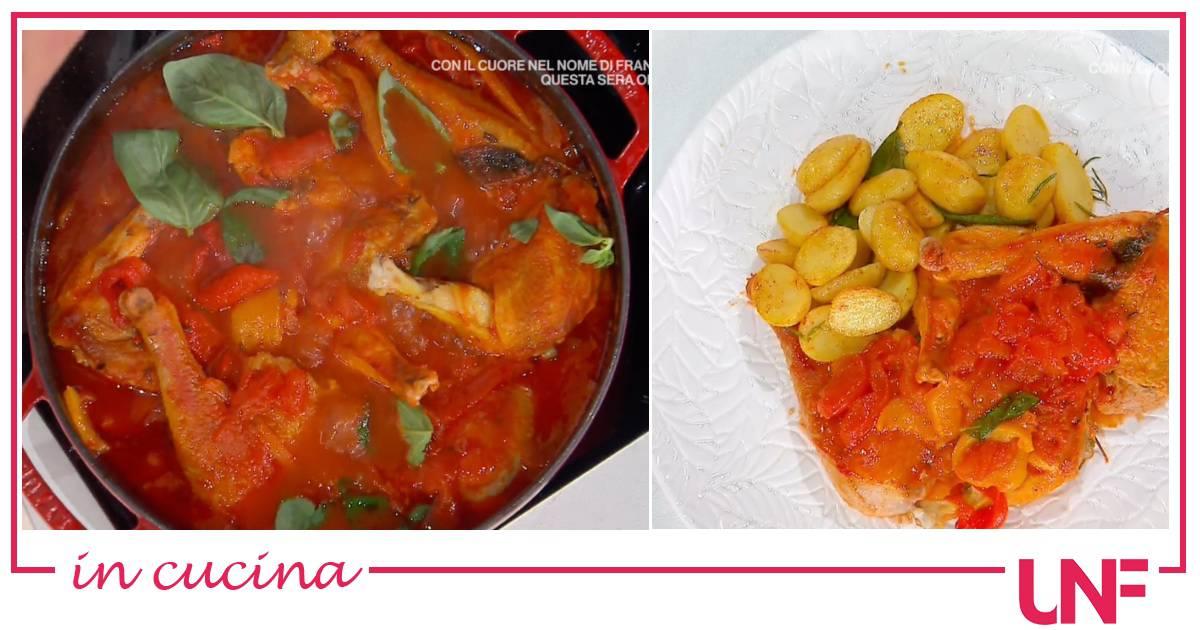 Ricette Gian Piero Fava, il pollo ai peperoni con patate novelle
