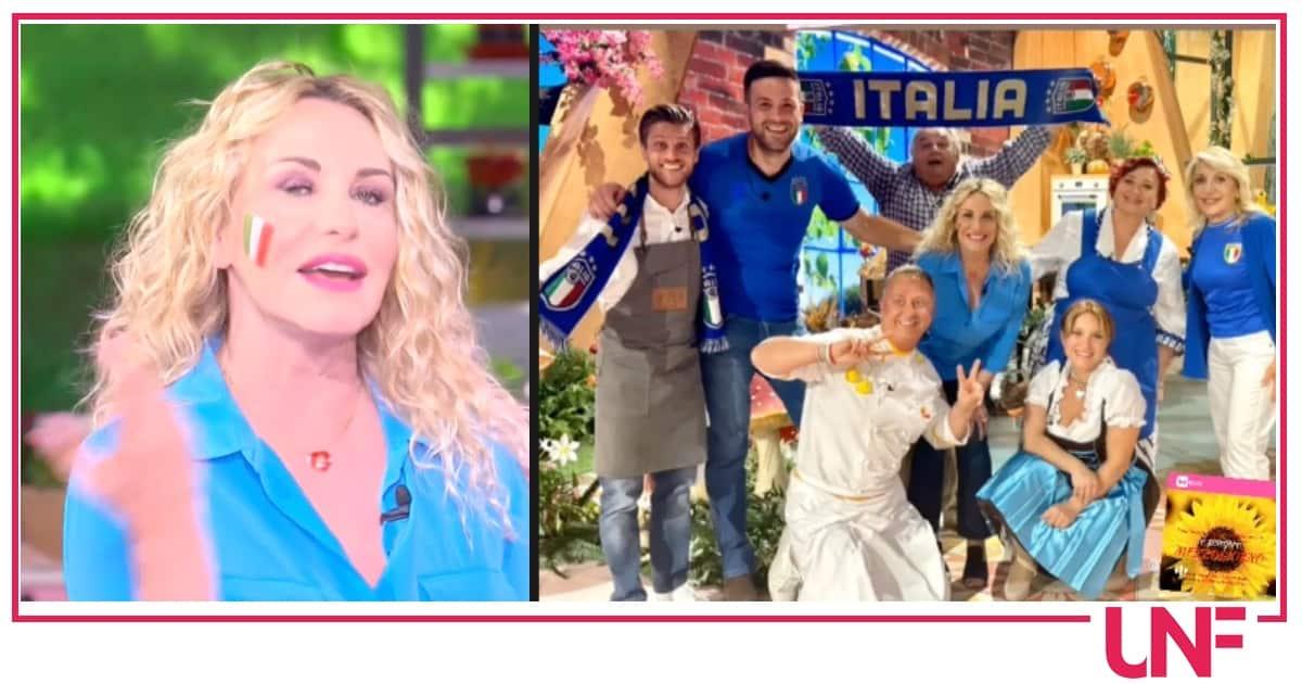 """Antonella Clerici con la squadra di E' sempre mezzogiorno: """"Azzurri fateci sognare"""""""