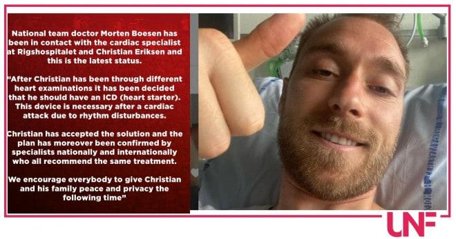 Eriksen ultime notizie: necessario un defibrillatore sottocute. In Italia non potrà giocare