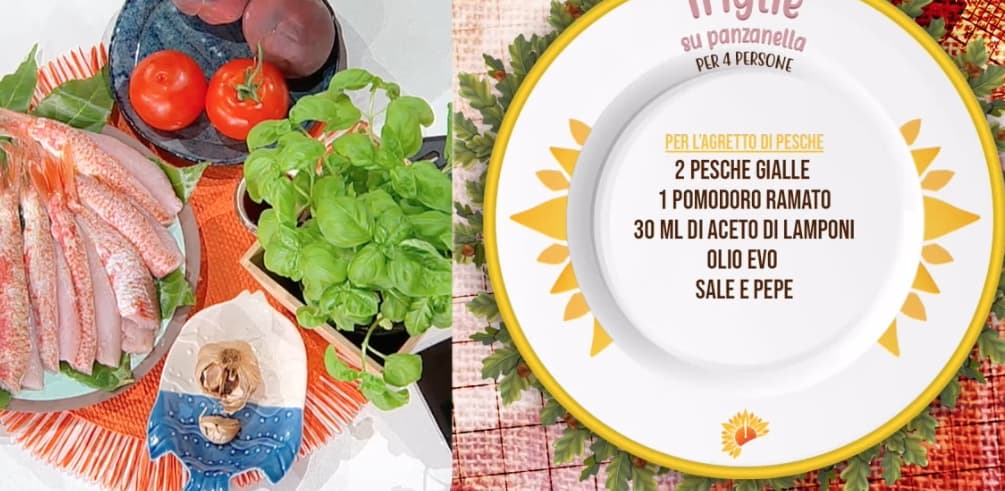 Triglie su panzanella, la ricetta di Michele Farru