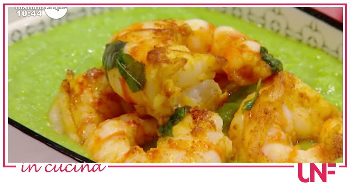 Crema di piselli con mazzancolle al curry, ricetta di Samya