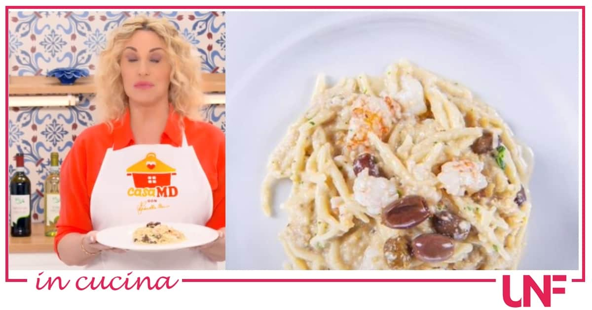 Mauro Improta e Antonella Clerici preparano le trofie con scampi e salsa di noci, la ricetta