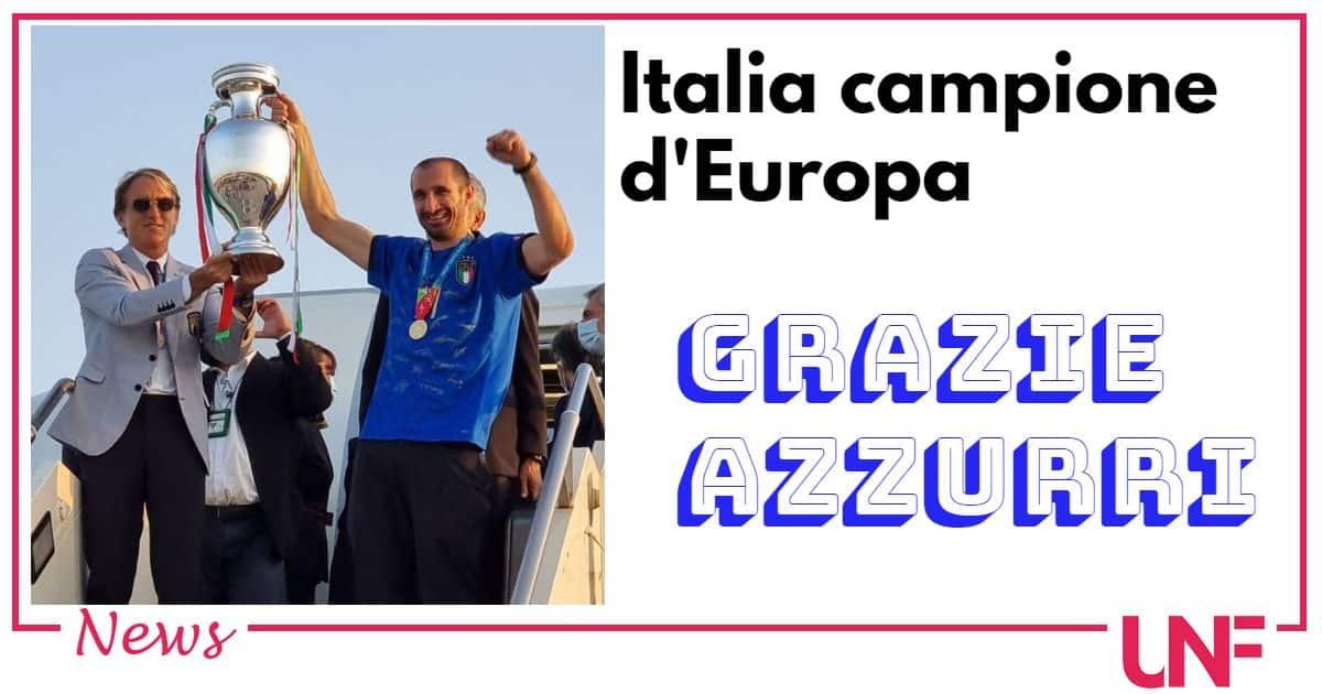 La Nazionale azzurra arriva in Italia con la coppa: è ancora festa a Roma
