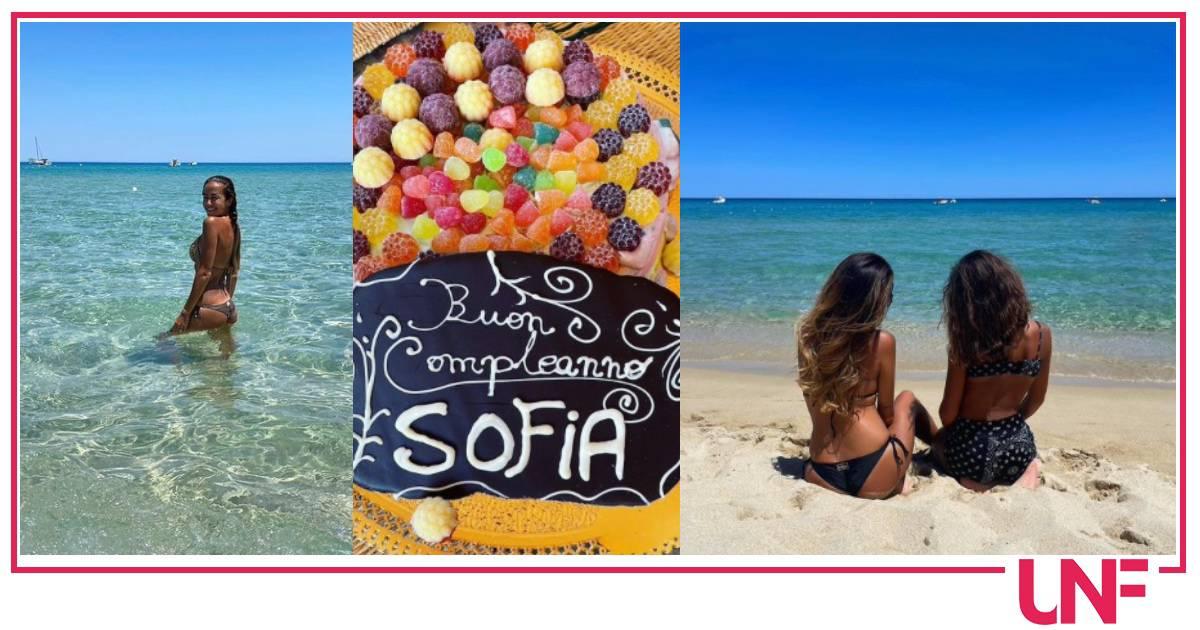 Giorgia Palmas in Sardegna festeggia il compleanno della figlia