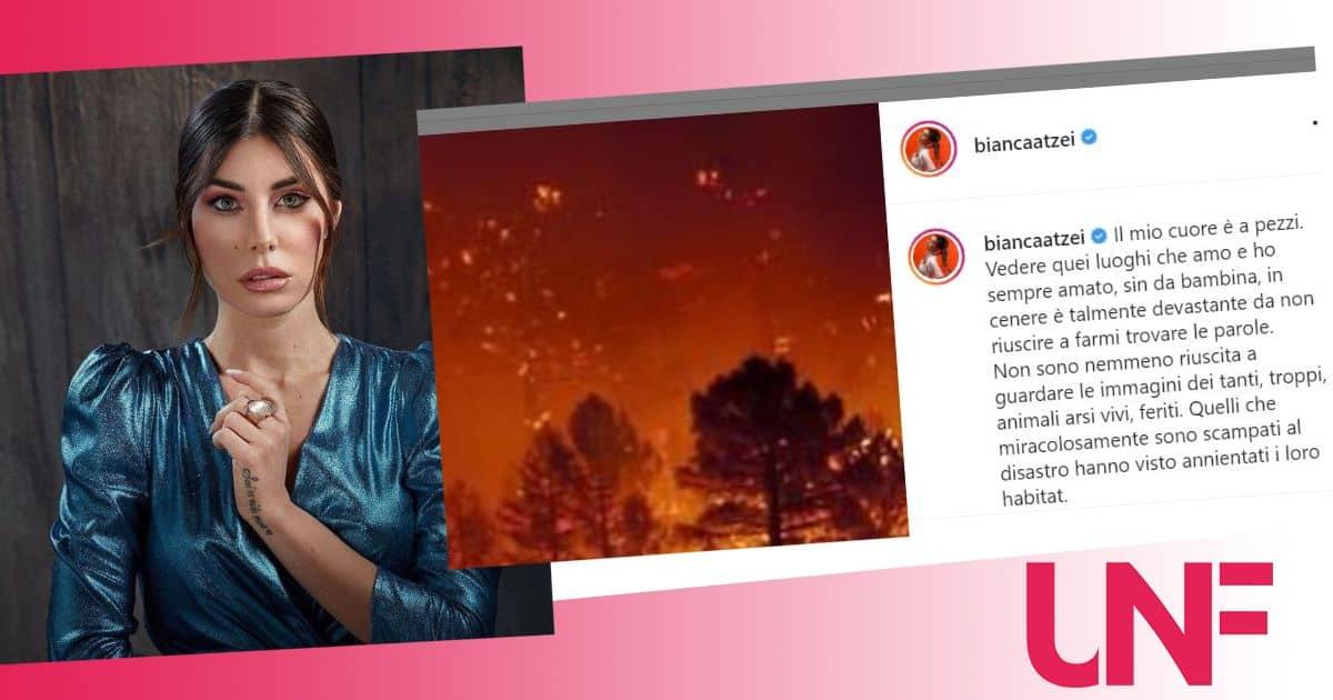 L'urlo di dolore di Bianca Atzei per la sua Sardegna devastata dai roghi