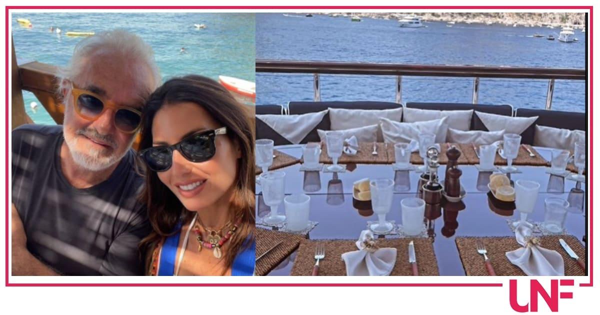 Elisabetta Gregoraci e Flavio Briatore a Capri, lei mostra il pranzo sullo yacht