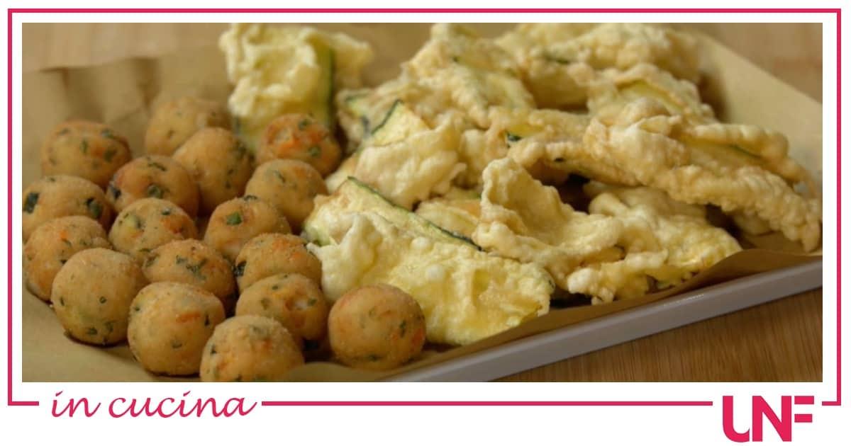 Polpettine di ricotta e verdure e zucchine fritte, ricette Benedetta Rossi