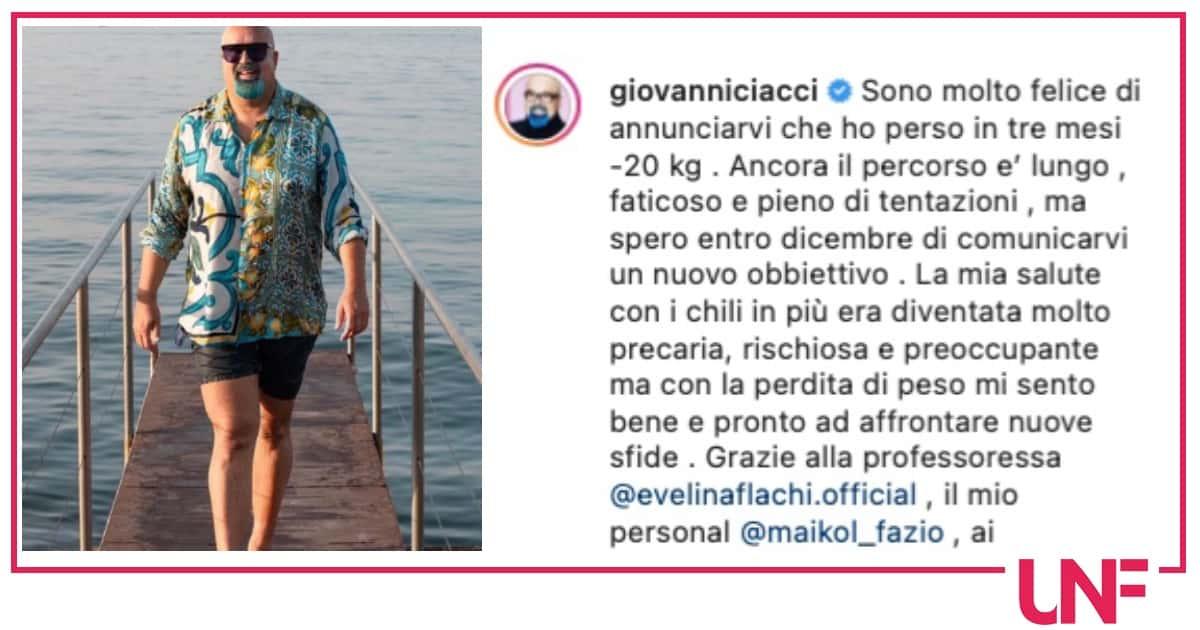 Giovanni Ciacci ringrazia Evelina Flachi: ha perso 20 chili e vinto contro la malattia