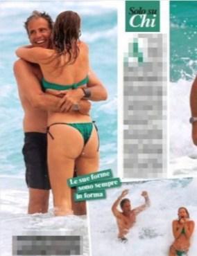 Alessia Marcuzzi in bikini verde si diverte tra le onde con Paolo e Mia (Foto)