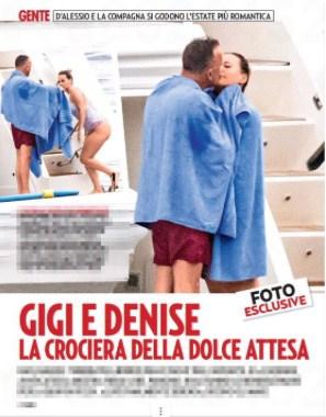 Gigi D'Alessio quante coccole al pancione di Denise, sono in crociera (Foto)