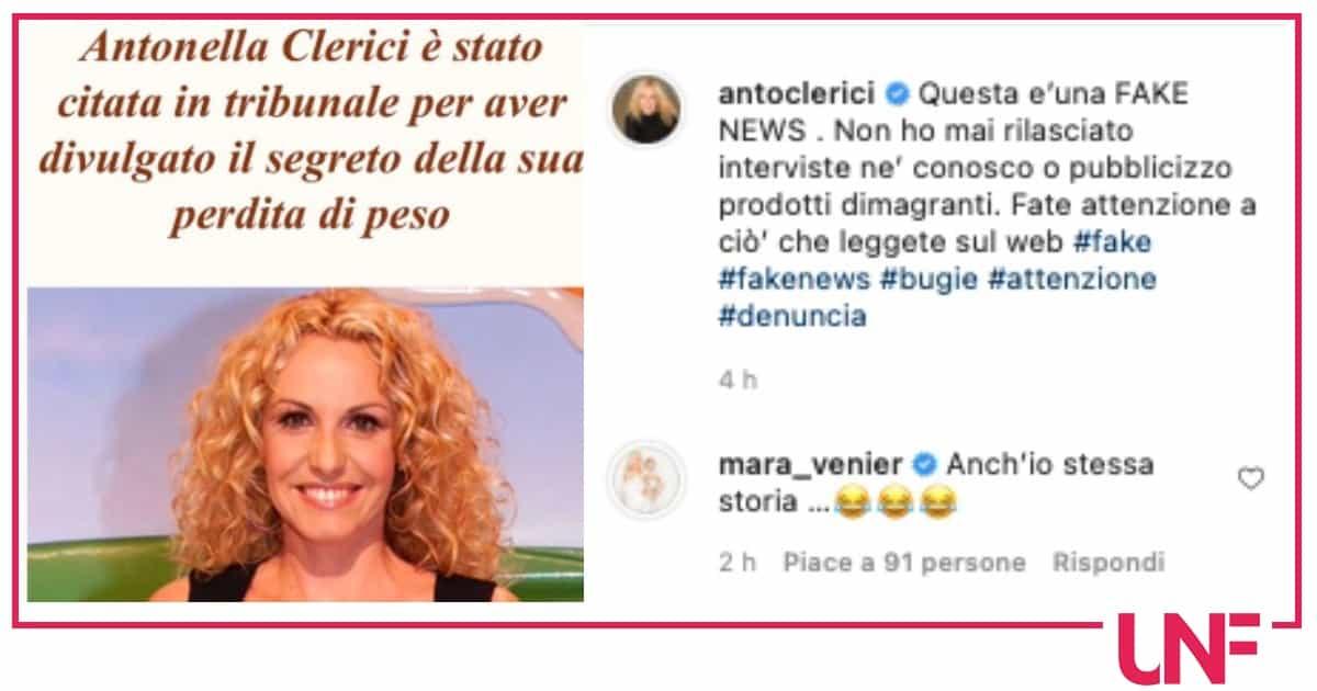 Antonella Clerici citata in tribunale per una dieta ma è tutto falso