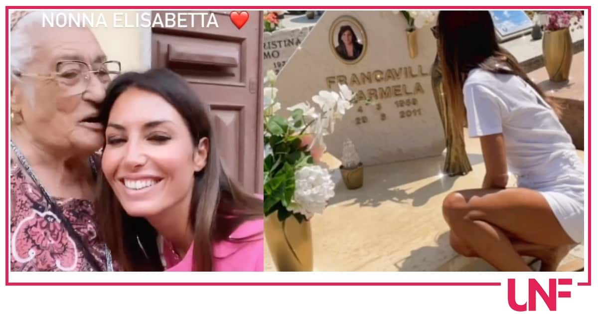 Elisabetta Gregoraci dalla famiglia in Calabria, prega sulla tomba della mamma